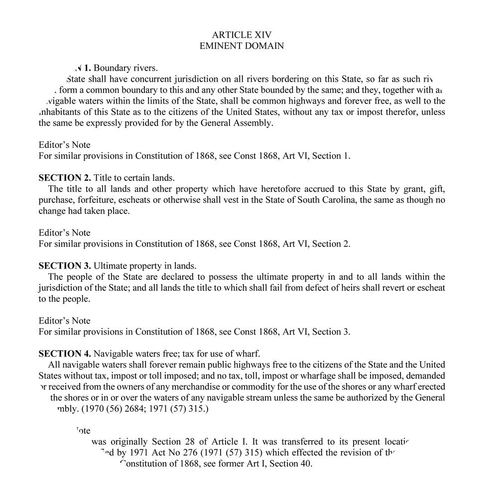 SC Constitution Article XIV